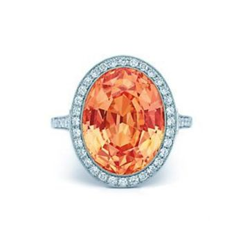 Tiffany & Co. Orange sapphire and diamond ring in platinum