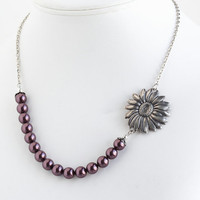 On Vacation - Pearl Necklace With Vintage Style Sunflower Bloom Necklace, Burgundy Pearls and Antique Silver Sunflower