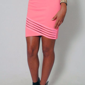 (ami) Semi sheer elastic band stiletto neon pink skirt