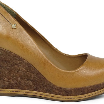 Peep-Toe Wedge Soft Camel - Cravo e Canela