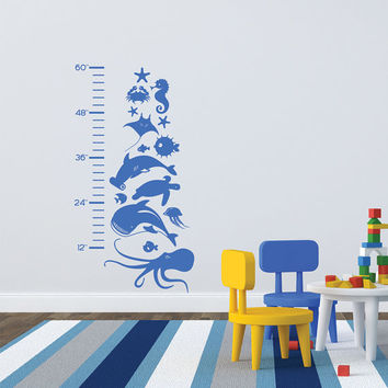 Kids Growth Chart Wall Vinyl Sea Life Marine Animals removable wall vinyl sticker decal fish shark octopus jellyfish seahorse boys girls art