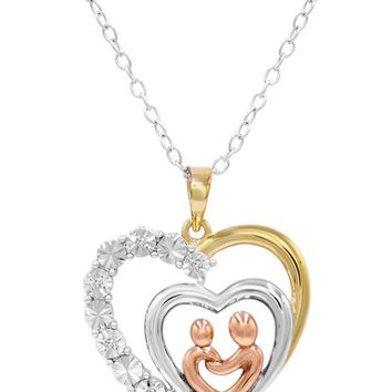 Tri Colored Sterling Silver Mother and Child Diamond Heart Necklace