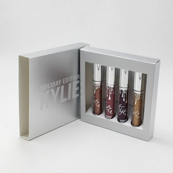 """KYLIE"" Holiday Full Size 4 Piece Lipstick Women Matte Liquid Lip Gloss Lip Glaze Mixed Color Set"