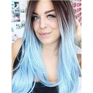 Long Black To Sky Blue Ombre Straight Synthetic Lace Front Wig