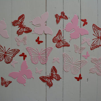 3D Butterflies made of textured card stock in Red and Pink shades--Let them fly around in your nursery or dress up your party