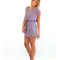The Knock Out Purple Dress With Lace Detail - Lotus Boutique