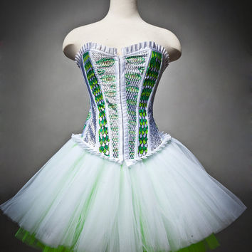 Size Medium Burlesque Corset Green and White Snake tulle dress OOAK with artwork by the Root 222 Crew Ready to Ship