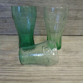 Vintage Coca -Cola Glasses Lot 3 Different Soda Glasses Green Coke Glasses