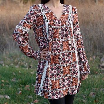Lace Trim Floral Dress/Tunic - Rust