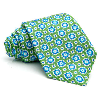 Kiton Green with Light Blue Medallion Tie