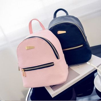 2017 New Women Leather Backpack Fashion Personality Bags School Bags for Teenage Girls Mochilas Femininas