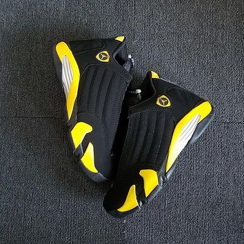 Nike Air Jordan 14 Black Yellow Men Women Basketball Shoes Sneaker