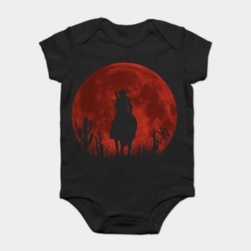 Baby Onesuit Baby Bodysuits kid t shirt 100% Cotton Custom Printed Red moon - Red Dead Redemption