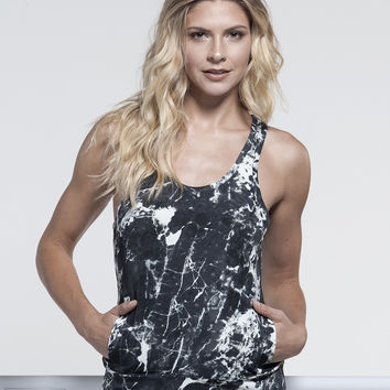 Norma Kamali Racer Tank with Pocket in Marble