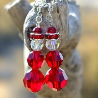 Swarovski Crystal Santa Christmas Earrings, Siam Red Handmade Holiday Jewelry