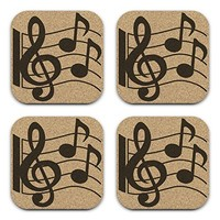 Music Lover Treble Cleff Notes Design Cork Coaster Set