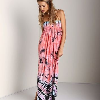 Indah Flamingo Smocked Bandeau Maxi Dress Tie Dye FLMGO-POB13 at Largo Drive Underwear & Swimwear