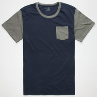 Blue Crown Color Block Mens Pocket Tee Blue  In Sizes