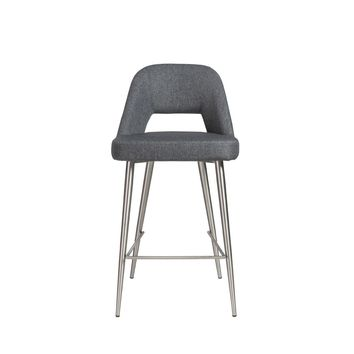 Blair-C Counter Stool in dark gray fabric with brushed stainless steel legs