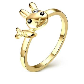 Cute Rabbit And Fish Ziron Rings For Women