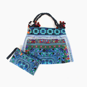 Tote Bag Set with Wristlet Clutch Purse HMONG Embroidered Fabric Handmade  Hill Tribe Thailand  (BG121SET2-BB)