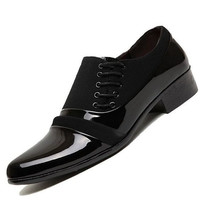 Men's Genuine Leather Oxford Pointed Toe Flat Dress Shoes Black