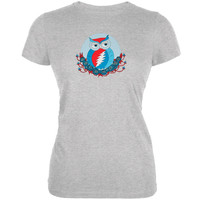Grateful Dead - Steal Your Face Owl Heather Grey Juniors T-Shirt