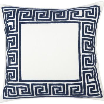 Navy Greek Key Decorative Pillow