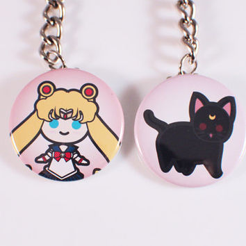 Sailor Moon and Luna Button Keychains