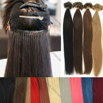 100s 16-26inches Fusion Nail U-Tip Women's Real Human Hair Extensions Straight