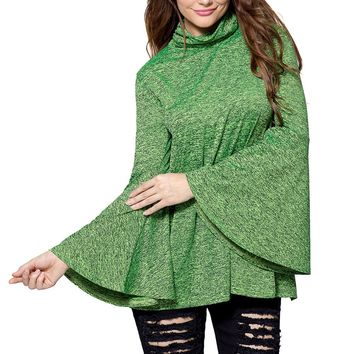 Green Flared Bell Sleeve Knit Blouse