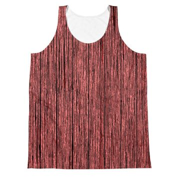 All-over-print Unisex Tank Top - Red tones wood pattern, tree bark theme
