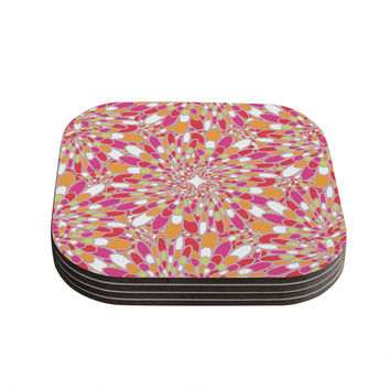 "Miranda Mol ""Flourishing Pink"" Pink Orange Coasters (Set of 4)"