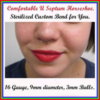 "STERILIZED ""U"" Shape 16 Gauge 9mm Surgical Steel Comfortable Septum Horseshoe with FREE Septum Retainer Bar."