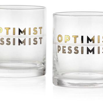 Optimist/Pessimist Double Old-Fashioned - Set of 4 | $20 & Under | Gifts | Z Gallerie