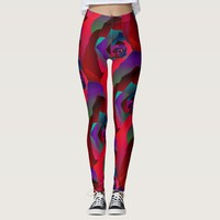 Glamorous dark red purple abstract rose leggings