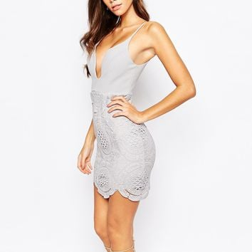 Love Triangle Plunge Front Mini Dress With Lace Skirt And Scalloped Hem