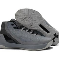DCCKIJ2 Men's Under Armor Curry 3 Knit Basketball Shoes Grey