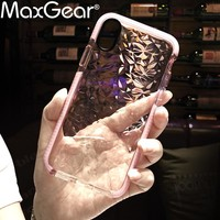 MaxGear Luxury Geometric Diamond Transparent Soft Cover For iPhone 6 6S 7 8 Rhombus Clear Case For iPhone X Water Feeling Case