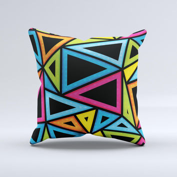 The Vivid Retro Overlap ink-Fuzed Decorative Throw Pillow