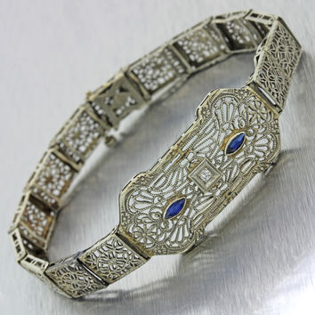 1930s Antique Art Deco 10k Solid White Gold Diamond Sapphire Filigree Bracelet