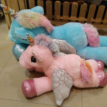 1pc 60/90cm Kawaii Unicorn Plush Toys Giant Stuffed Animal Horse Toys for Children Soft Doll Home Decor Lover Birthday Gift