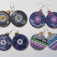 Purple Handpainted Yoga Earrings Jewelry Chakra Mandala wooden Dangle Drop Bohemian Earrings  Dot art Earrings Boho Tribal Hippie Earrings