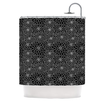 "Julia Grifol ""Black Flowers"" Dark Floral Shower Curtain"
