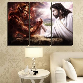 3 piece panel  Jesus Christ arm wrestling with devil wall art canvas panel print