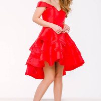 Jovani 45301 Off the Shoulder Tiered Homecoming Dress