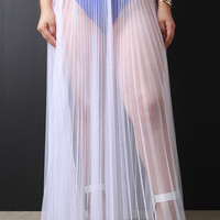 Sheer Mesh Tulle Pleated Maxi Skirt