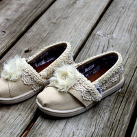 Flower Girl shoes Toddler --Custom TOMS -- Lace TOMS -- Flower style