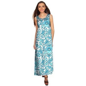 Seadream Bella Blue White Sleeveless Empire Waist Maxi Dress - Women