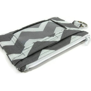 Gray and Pale Blue ID Wallet / Keychain Wallet / ID Holder